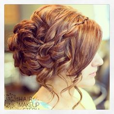 Curly waterfall braid updo