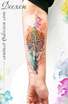 Let Your Heart Be Your Compass #ink #inked #tattoo #tattoos #tatuaggi #tatuaggio #tatuagem #tatouage #art #watercolor #watercolortattoo #graphictattoo #geometric #geometry #aquarelle #deexen #deexentattooing #graphicdesign #abstract #Wanderlust! #watercolourtattoo #compasstattoo