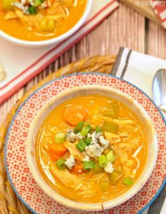 SKINNY Buffalo Chicken Soup! Its thickened with CAULIFLOWER! The most delicious healthy soup you will ever taste! Made in 30 min! - The Cookie Rookie