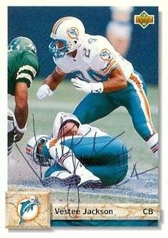 Vestee Jackson Autographed/Hand Signed Football Card (Miami Dolphins) 1992 Upper Deck #491 by Hall of Fame Memorabilia. $38.95. Vestee Jackson autographed Football Card (Miami Dolphins) 1992 Upper Deck #491. Signed items come fully certified with Certificate of Authenticity and tamper-evident hologram.