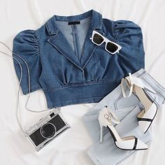 Girls Fashion Clothes, Teen Fashion Outfits, Look Fashion, Korean Fashion, Fast Fashion, Denim Top Outfit, Cute Casual Outfits, Stylish Outfits, Nouveau Look