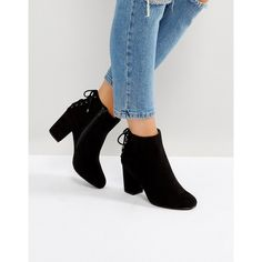 Head Over Heels by Dune Olli Lace Back Heeled Ankle Boots (109 AUD) ❤ liked on Polyvore featuring shoes, boots, ankle booties, black, lace-up booties, black laced booties, lace-up bootie, black high heel booties and ankle boots