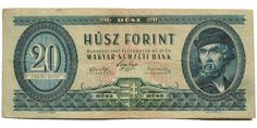 20 forint 1947 Banknote, Budapest, Vintage World Maps, Coins, Money, Paper, Collection, Art, White People
