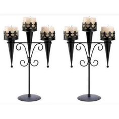 I would use these on my mantle all year....Set of 2 Goth Castle Black Candle Holder Candelabra