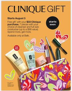 This Clinique Gift is coming soon to Belk (starts Aug 3). 7 pieces with your choice of cleanser and full-size moisturizer. Yours with any $33 Clinique purchase. Cleanser, Moisturizer, Clinique Gift, Dillards, Cosmetic Bag, Free Gifts, Moisturiser, Cleaning Agent, Promotional Giveaways