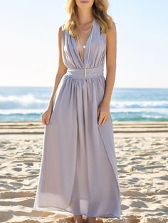 SHARE & Get it FREE | Plunging Neck Solid Color Maxi DressFor Fashion Lovers only:80,000+ Items • New Arrivals Daily Join Zaful: Get YOUR $50 NOW!