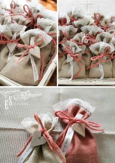 Agape Gift Bags made of burlap, lace, ribbon and wooden charm or button. Rustic Wedding Favors, Diy Wedding, Wedding Gifts, Burlap Crafts, Diy And Crafts, Deco Rose, Lavender Bags, Gift Bags, Favor Bags
