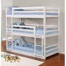 White Triple Twin Bunk Bed Coaster Furniture in Kids Loft and Bunk Beds. The White Triple Twin Bunk Bed by Coaster Furniture features solid pine wood construction in a white finish. It has multiple configurations to suit every household. Three Bed Bunk Beds, Triple Twin Bunk Bed, Ikea Bunk Bed, Triple Bed, Bunk Beds Small Room, Modern Bunk Beds, Bunk Beds With Stairs, Cool Bunk Beds, Kids Bunk Beds