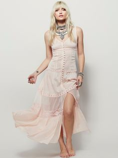 Victoria Buttonfront Maxi | Sheer maxi slip dress with a V-Neck. Button detailing down the front and crochet accents throughout. Front slit.