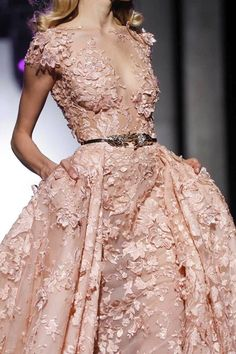 Beautiful blush pink gown with floral appliques, perfect for a bride who wants a bit of color - lush details, full skirt, ballgown, princess dress wedding, bridal, metallic gold belt, flowers, sleeves, v-neck, illusion neckline