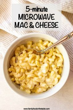 Microwave mac and cheese is so quick and easy to make with just 3 ingredients and 5 minutes of cook time! Its deliciously cheesy creamy and tender! Mac And Cheese Microwave, Mac And Cheese Mug, Quick Mac And Cheese, Cheesy Mac And Cheese, Making Mac And Cheese, Microwave Table, Mug Recipes, Quick Recipes, Cooking Recipes