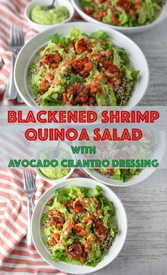 This Blackened Shrimp Quinoa Salad with Avocado Cilantro Dressing blends the perfect melody of flavors together! Made with simple fresh ingredients, this will be your new favorite salad! Avocado Cilantro Dressing, Avocado Salad, Quinoa Salad, Avocado Recipes, Salad Recipes, Shrimp And Quinoa, Blackened Shrimp, Side Dishes Easy, Clean Eating Recipes