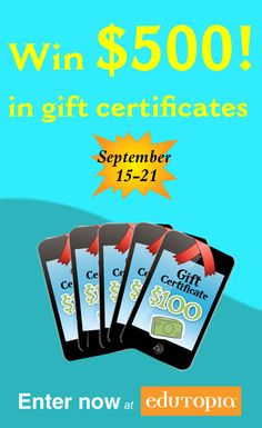 We've teamed up with Edutopia to give away $500 worth of gift certificates to our eStore! Enter by September 21, 2014 for a chance to win :) #giveaway