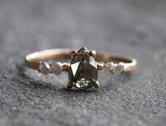 Natural Rose Cut Diamond Ring, 14k Gold Filled, Artisan Ring, Grey Pear Shaped Diamond, Pave Band, Wire Wrapped, For Her, Rustic Earthy Ring