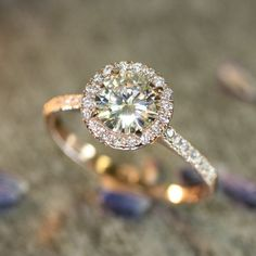 14k Rose Gold Halo Diamond Moissanite Engagement Ring in Half Eternity Diamond Wedding Band 7mm Round Forever Brilliant Moissanite Ring