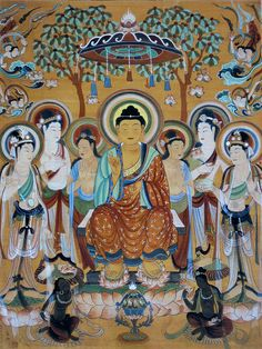 The Mogao Grottoes (Thousand Buddha Caves) sits at the cliffs of the Soughing Sand Hill about 16 miles southeast of Dunhuang in the Gansu province of China.