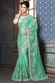 Gorgeous Green Color Paty Wear Saree  #green #georgette #mahotsav #traditional