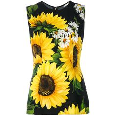 Dolce & Gabbana sunflower print tank top (£345) ❤ liked on Polyvore featuring tops, black, sunflower top, sunflower tank top, sleeveless tank, dolce gabbana top and viscose tops