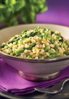 Barley Risotto with Asparagus and Lemon  Bright flavors of lemon, basil and asparagus play against the sweetness of baby peas and the earthiness of barley and onion