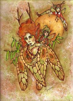 Mama Fae and her two wee sons. By Memory Howell ©2015 Fairies of Memory on Face Book.