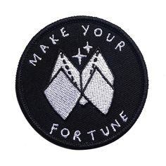 Who needs to leave their fate up to chance? Make your own goddamn fortune! (Also, these little paper fortune tellers were the shit in grade school!) - Embroidered patch w/ merrowed edge - Iron-on backing - Measurements: diameter By Sick Girls Cool Patches, Pin And Patches, Iron On Patches, Punk Patches, Do It Yourself Fashion, Make It Yourself, Embroidery Designs, Embroidery Patches, Embroidered Patch