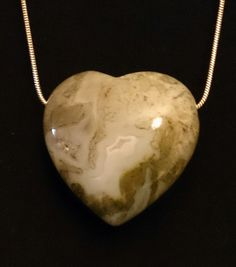 Moss Agate Puff Heart Pendant on 925 Silver Chain - Choker Style by ShopAtJulesCrowther on Etsy