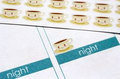 This set will include 40 kawaii coffee cup & saucer stickers that look great in the weekly boxes of the erin condren life planner as you can see
