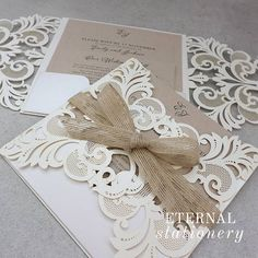 Elegant Rustic laser cut pocket Wedding Invitation Created by Eternal Stationery www.eternalstationery.com.au