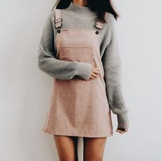 fall / winter outfits | pale pink overall dress | minimal outfit | small turtleneck long sleeve
