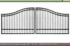 Basic iron gates (pair) - simple design, aesthetically pleasing curve down to pillars on the sides
