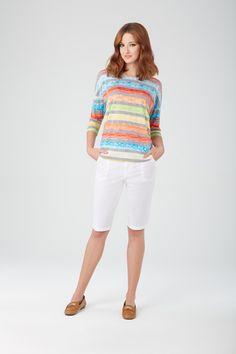 Orange top and white bermuda #tribalsportswear #tribalfashions #spring2015 #fashion #style #springtrends #spring2015trends #sunsetglam