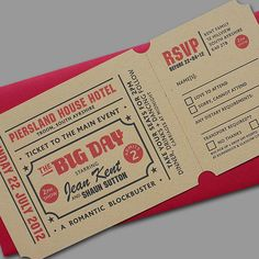 cinema ticket style wedding invitations unusual invite novelty vintage 1950s wedding