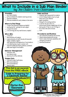 How to Plan for a Substitute Teacher Learn how to plan for a sub, write substitute teacher plans & make a sub binder. These tips, ideas, photos & free printables explain how to plan, prepare & organize your classroom for a substitute teacher. It's perfect 5th Grade Classroom, School Classroom, Kindergarten Classroom, Future Classroom, Classroom Ideas, 2nd Grade Class, Classroom Libraries, 2nd Grade Teacher, Kindergarten Worksheets