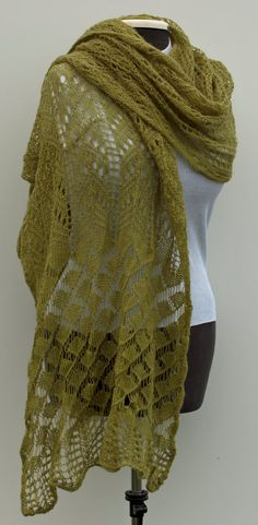 Delicate knitted lace scarf