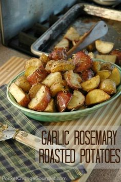 A perfect side dish to serve at your Christmas dinner! Garlic Rosemary Roasted Potatoes Recipe on PocketChangeGourmet.com