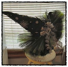 """i made this halloween witch hat for """"Witches Night Out"""" used my vintage rhinestone jewelry.."""