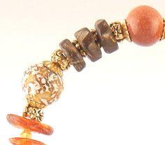 Brown goldstone and leopard skin jasper by WimberleyTreasures, $45.00
