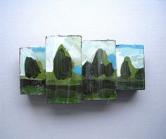 Short Green Hike, small encaustic painting on fused wood by Lori at landfall. #rowenamurillo