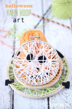 Halloween Yarn Embroidery Hoop Art