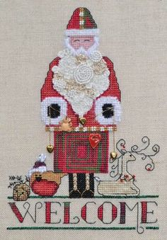 Santa Welcome is the title of this cross stitch pattern from MarNic Designs - a delightful Santa Welcome for sure!