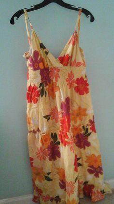 Girls Long Yellow Floral Sundress Size XL