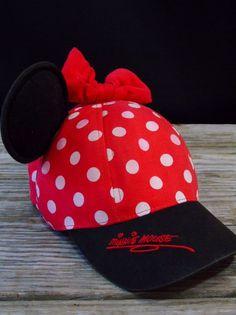 Walt Disney World Minnie Mouse Hat Cap Polka Dot Bow Ears Youth Snap Adjustable #Disney