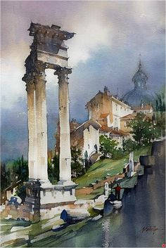 Temple of Apollo - Rome by Thomas W. Schaller Watercolor ~ 21 x 14 inches Watercolor Scenery, Watercolor City, Watercolor Landscape Paintings, Watercolor Artists, Watercolor And Ink, Landscape Art, Watercolor Painting Techniques, Watercolour Painting, Watercolor Architecture