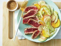 1701 Seared Tuna with Shaved Vegetable Salad Easy Fish Recipes, Heart Healthy Recipes, Seafood Recipes, Cooking Recipes, Tuna Recipes, Clean Recipes, Recipes Dinner, Salad Recipes, Healthy Weeknight Meals