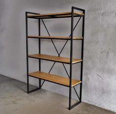 estanteria madera hierro. mesa consola ratona biblioteca