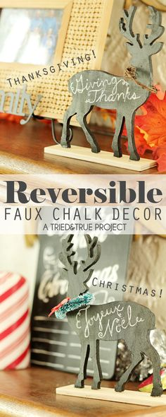 Thanksgiving & Christmas Faux Chalk Deer