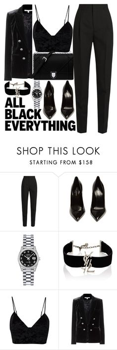 """""""all black"""" by mihai-theodora ❤ liked on Polyvore featuring Yves Saint Laurent, Rolex, Fleur du Mal and Veronica Beard"""