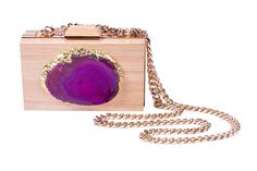 ID brand SS 2016. Wooden clutch with gemstone