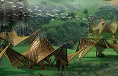 Ming Trang's folding bamboo house.  Renewable materials, sustainable architecture, design for disaster, green building, recycled materials.  For re:construct design competition.