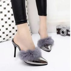 Real Rabbit Fur High-Heeled Sandals 9cm Fashion Slippers Women 2016 Autumn Sexy Pumps Pointed Toe Thin Heels Chaussure Femme